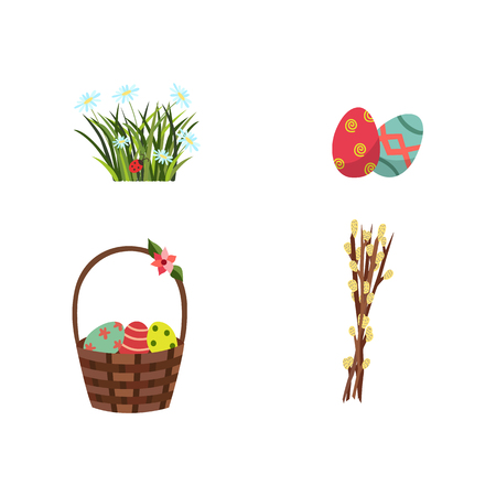 vector flat easter holiday, spring meadow icon with green fresh grass, daisy flowers willow twig ladybug, decorated eggs wicker basket, easter cake with candle. Isolated illustration white background.