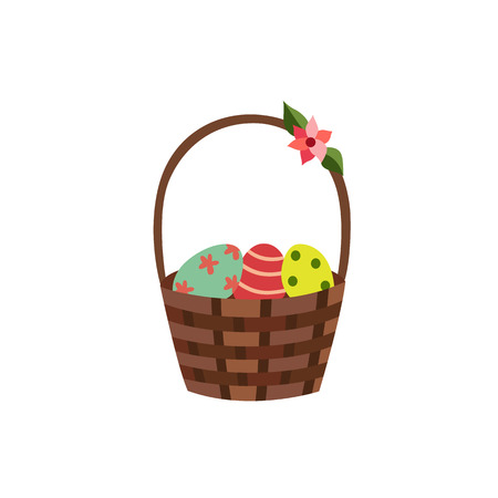 vector flat easter holiday wicker basket decorated with colored flowers. Spring icon object for your design. Isolated illustration on a white background. 向量圖像