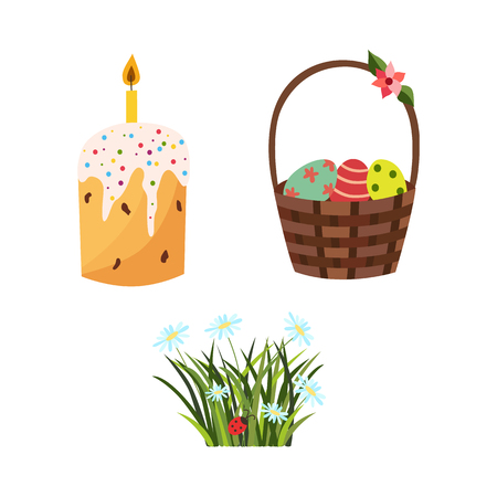 vector flat easter holiday, spring meadow icon with green fresh grass, white daisy flowers ladybug, decorated eggs in wicker basket, easter cake with candle. Isolated illustration white background.