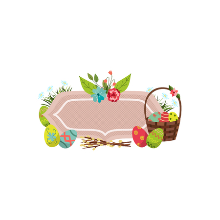 vector easter holiday banner, poster template set with spring element decorated eggs, daisy poppy flowers willow twigs, wicker basket, ladybug green grass white isolated background illustration.