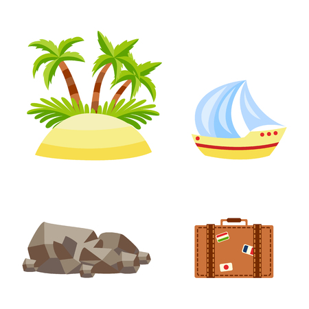 Vector flat travelling, beach vacation symbols icon set. Summer holiday sand island with palm tree plant with coconut, sailing yacht, stone, vintage travel bag. Isolated illustration, white background Ilustrace