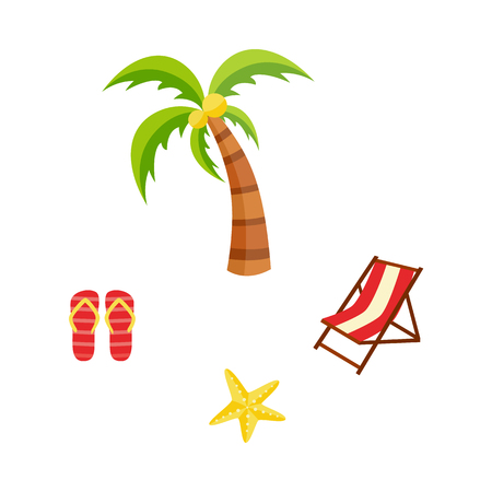 Vector flat travelling, beach vacation symbols icon set. Summer holiday rest elements - sun lounger, palm with coconuts, starfish, slippers. Isolated illustration, white background Illustration