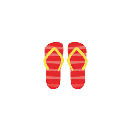 Vector flat travelling, beach vacation symbol beach slippers, flip flops red striped color icon. Summer holiday poster, banner design element. Isolated illustration, white background Illustration