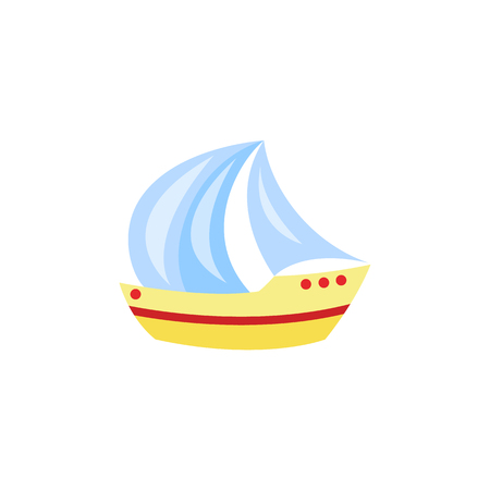 Vector cartoon travelling, beach vacation symbol sailing yacht, sailboat ship icon. Summer holiday poster, banner design element. Isolated illustration, white background Иллюстрация