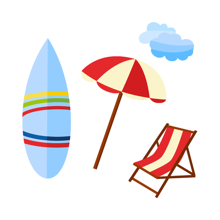 Vector flat travelling, beach vacation symbols icon set. Summer holiday rest elements - lounger sunbed, sunshade sun umbrella, surfboard and sky cloud. Isolated illustration, white background Ilustrace