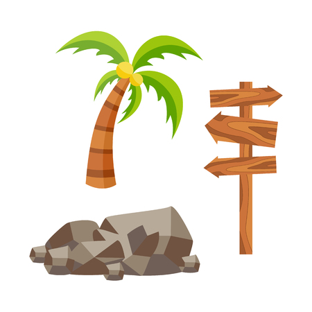 Vector flat travelling, beach vacation symbols icon set. Summer holiday rest elements stone, palm with coconuts, wooden signboard direction pointer. Isolated illustration, white background