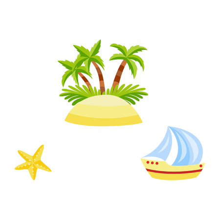 Vector flat travelling, beach vacation symbols icon set. Summer holiday rest elements - sand island with palm tree plant with coconut, starfish, sailing yacht. Isolated illustration, white background