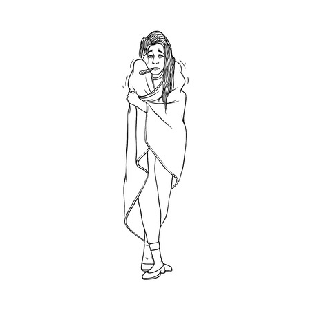 Young woman with cold and flu symptoms stands covered with blanket and measures body temperature with thermometer in mouse. Black and white hand drawn illness female character. Vector illustration. Illustration