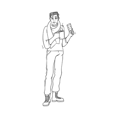 Sick young man holds pills and hot drink in hands due to having cold and flu isolated on white background. Black and white hand drawn guy with scarf around neck holding medicine. Vector illustration.