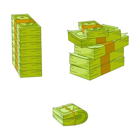 Vector flat cash money piles, stack heap bundle set. Bank hundred dollar banknotes. Business finance savings profit success, jackpot banking loan credit symbol. Isolated illustration, white background