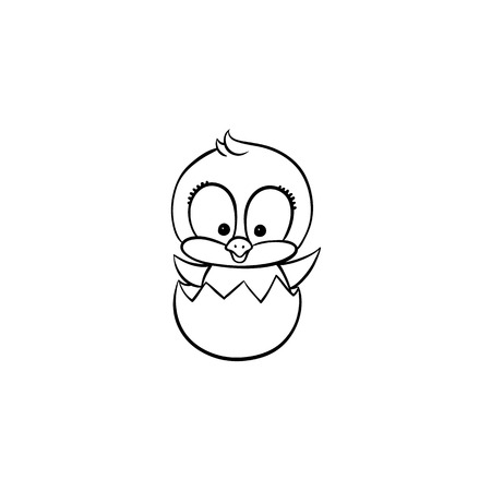 vector flat cute baby chicken monochrome small funny chick hatching from egg. Flat bird animal, isolated illustration on a white background, poultry, farm coloring book design object.