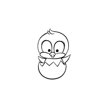 Vector plano lindo bebé pollo monocromo pequeño polluelo divertido que sale del huevo. Animal de pájaro plano, ilustración aislada sobre fondo blanco, aves de corral, objeto de diseño de libro de colorear de granja. Ilustración de vector