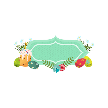 vector easter holiday banner, poster template with spring elements icons decorated eggs, cake with candle daisy poppy cornflower flowers green grass leaves. White, isolated background illustration.