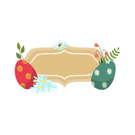 vector easter holiday banner, poster template with spring elements icons decorated eggs, daisy bellflower flowers ladybug green grass leaves. White, isolated background illustration.