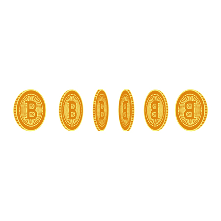Vector flat bitcoin golden coins from different view point set icon. Mining crypto currency, virtual money elements. Digital economy, blockchain sign. Isolated illustration on a white background.