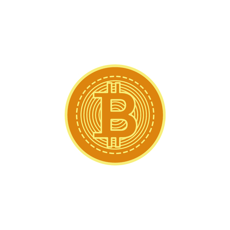 Vector flat bitcoin golden coin closeup icon. Mining crypto currency, virtual money elements. Digital economy, blockchain sign. Isolated illustration on a white background. Ilustrace