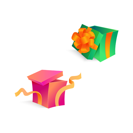Vector cartoon open present gift box pink end green bright wrapping elegant ribbon with confetti.
