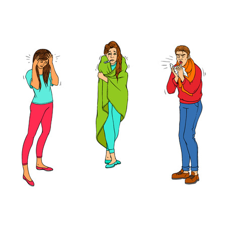Sick characters set of people with health problems isolated on white background - colorful hand drawn man and women with symptoms of cold and flu and headache. Vector illustration. Illustration