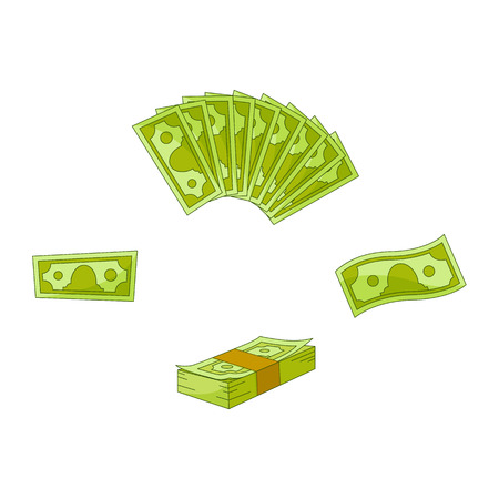 Vector flat cash money pile, stack bills fan set. Bank hundred dollar banknotes. Business finance savings profit success, jackpot, banking loan credit symbol. Isolated illustration, white background