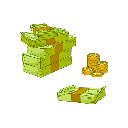 Vector flat cash money piles, stack heap bundle, golden coins set. Bank hundred dollar banknotes. Business finance success, jackpot banking loan credit symbol. Isolated illustration, white background