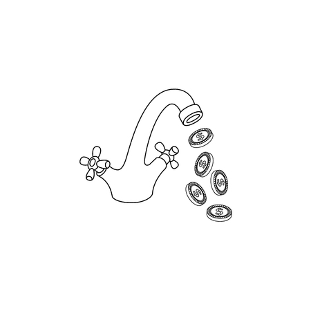 monochrome water tap with coins falling from it icon. Business success, achievement, financial banking, money profit flow symbol. Isolated conceptual illustration on a white background