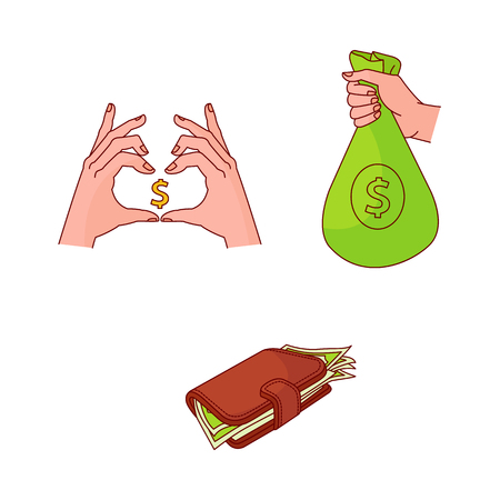 business finance, banking, currency, saving charity success marketing research symbols set. Hands showing love money gesture, wallet, hand holding money bag Isolated illustration