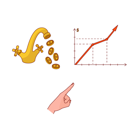 Vector sketch business finance, banking, currency, saving charity success marketing research symbols. Graph chart, hand pointing out by index finger, golden water tap with coins Isolated illustration