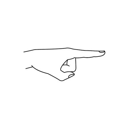 sketch man hand with index finger pointing out. Isolated monochrome illustration on a white background. Communication business design symbol, concept for app interface