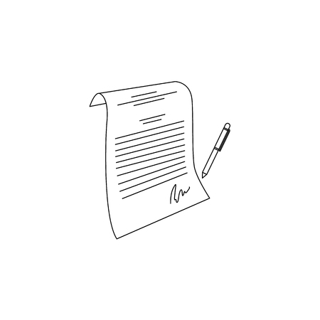 contract paper with pen icon. Hand drawn agreement document symbol, corporate legal financial deal, partnership concept. Isolated monochrome illustration on a white background.