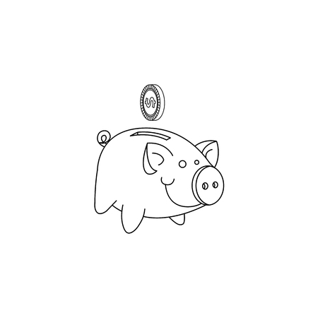 croquis tirelire tirelire dessiné à la main, objet d'économie de revenus de porc, outil de banque d'investissement à domicile avec icône de pièce d'or. Illustration monochrome isolée sur fond blanc.