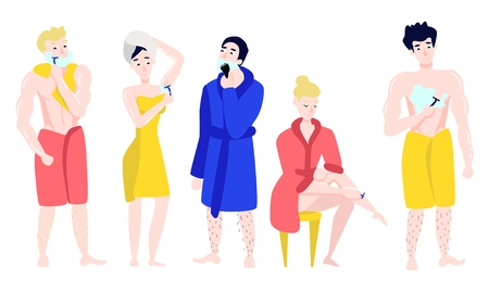 Vector flat girls in bathrobe, towel removing hair from body parts with razor epilator, men shaving. Woman, male hygiene, health skincare, cosmetics concept. Isolated illustration, white background.
