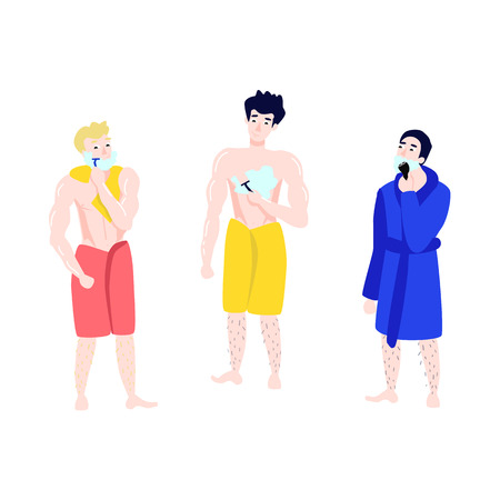 Vector flat men towel bathrobe hair removal set. Characters hairy legs removing hair from chest, neck, cheeck shaving with razor epilator. Female hygiene health skincare concept. Isolated illustration Banque d'images - 114967898