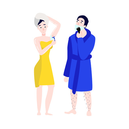 Vector flat girl in bathrobe, towel removing hair from armpit with razor epilator, man shaving. Woman, male hygiene, health skincare, cosmetics concept. Isolated illustration, white background.