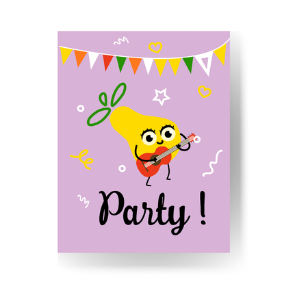 Fruit summertime party poster with ripe pineapple playing guitar, dancing and having fun. Cartoon cute joyful and smiling character of fruit for summer vacation theme, vector illustration.