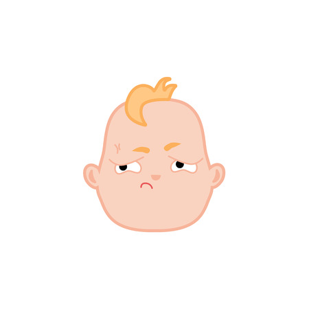 Cartoon baby face with offended expression. Flat unhappy infant boy kid dissatisfied facial emotion, newborn irritated child icon. Vector illustration for childish design on isolated background