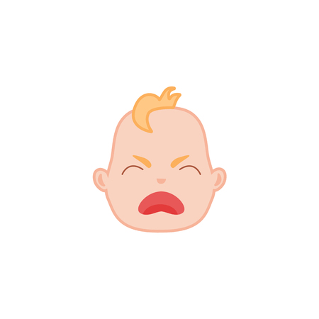 Cartoon baby face with crying expression. Flat unhappy infant boy kid disappointed emotion, newborn child sad icon. Vector illustration for childish design on isolated background Çizim