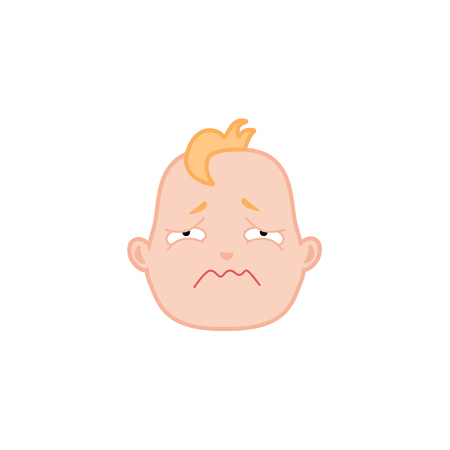 Cartoon baby face with sad expression. Flat unhappy infant boy kid disappointed emotion, newborn child ready to cry icon. Vector illustration for childish design on isolated background