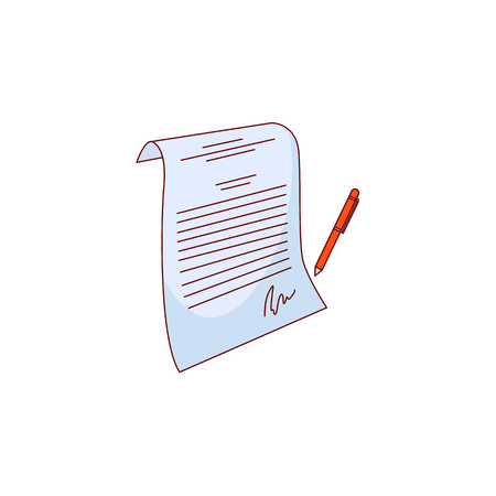 sketch contract paper with pen icon. Hand drawn agreement document symbol, corporate legal financial deal, partnership concept. Isolated illustration on a white background. Иллюстрация