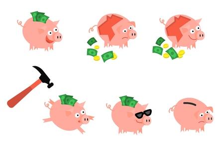 Cartoon-Sparschwein-Icon-Set. Fröhliche Schweinspardose voller Ersparnisse mit glücklichem Gesichtsausdruck, Hummer. Business Finance, Banking Rich und Weath-Konzept. Vektor isolierte Hintergrundillustration Vektorgrafik