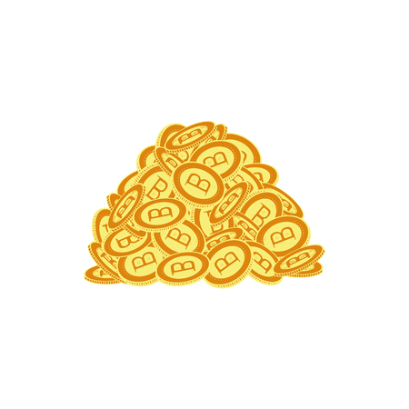 Vector flat bitcoin Golden coins pile heap stack icon set. Mining crypto currency, virtual money elements. Digital economy, blockchain sign. Isolated illustration on a white background.