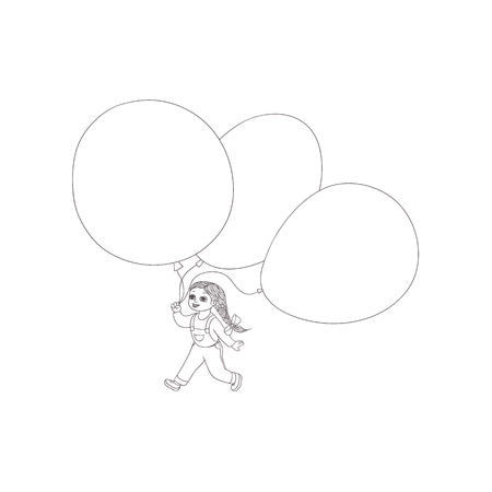 Vector flat sketch little girl child walking with big air balloon jeans on suspenders smiling. Happy female character celebration party invitation card, coloring book design. Isolated illustration