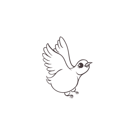 Vector sketch hand drawn sparrow small bird animal flying. Isolated illustration on a white background. Coloring book for kids design element. Illustration