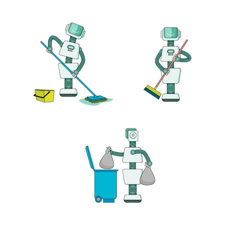 Robot che fa la raccolta dei lavori domestici - Android pulisce la casa, spazza e lava il pavimento, porta fuori la spazzatura isolata su fondo bianco. Personaggi dei cartoni animati dell'assistente domestico robotico. Illustrazione vettoriale. Vettoriali