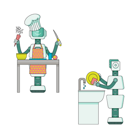 Robot doing housework collection - android housekeeper prepares food and washes dishes isolated on white background. Cartoon characters of mechanic home assistant. Vector illustration.