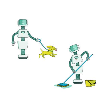 Robot faisant le ménage ensemble - sol de lavage android avec vadrouille humide et chien de marche avec collier isolé sur fond blanc. Personnages de dessins animés d'assistant à domicile robotique. Illustration vectorielle.