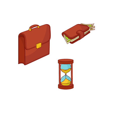 Vector sketch business finance, banking, currency, saving charity success marketing research symbols set. Documents papers brief case, money wallet vintage sand hourglass Isolated illustration