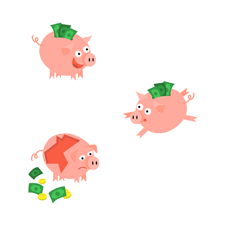 Cartoon piggy bank icon set. Cheerful pig money box full of savings with happy facial expression sad pig without money. Business finance, banking weath concept. Vector isolated background illustration