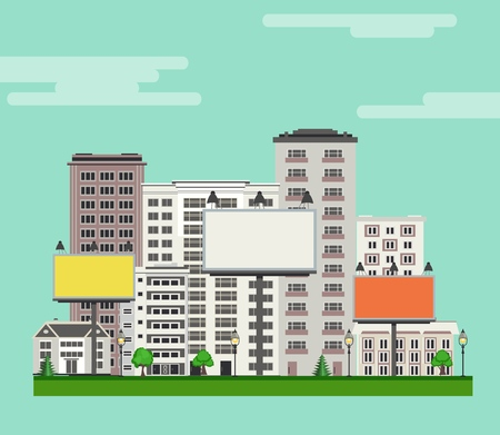 City skyline with multistorey apartment and office buildings, green trees and lawn, billboards with empty space for text on blue sky background. Flat colorful city landscape . Vector illustration.