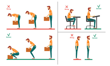 Correct, incorrect neck, spine alignment of young cartoon man character sitting at desk, lifting weight. Head bending positions, inclination of neck. Spine care concept. Vector isolated illustration