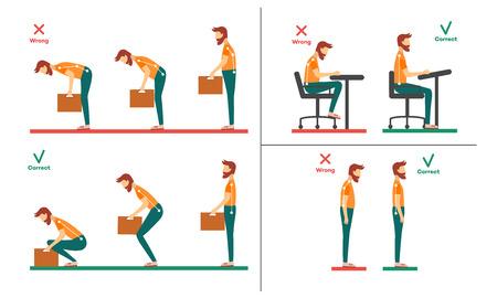 Cuello correcto, incorrecto, alineación de la columna vertebral del personaje de dibujos animados joven sentado en el escritorio, levantando pesas. Posiciones de flexión de la cabeza, inclinación del cuello. Concepto de cuidado de la columna vertebral. Ilustración de vector aislado